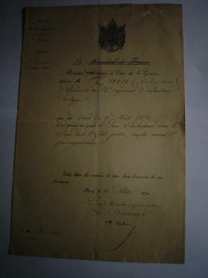 Napoleon III & 3rd Republic France Officer service documents Captain N Huin 1870