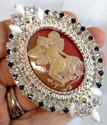 "*rare* Stunning Vintage Estate Signed Kjl Celluloid Cameo Fairy 3"" Brooch! G188V"