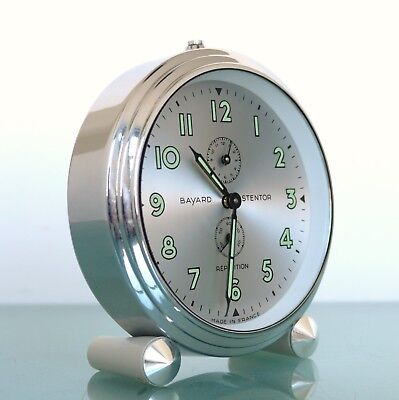 BAYARD STENTOR Mantel CLOCK Repeat Alarm SILVER DIAL! CHROME Case FRENCH Vintage