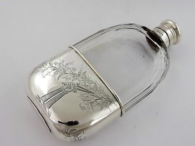 Excellent Victorian SILVER HIPFLASK, London 1882 SPIRIT HIP FLASK crested cup