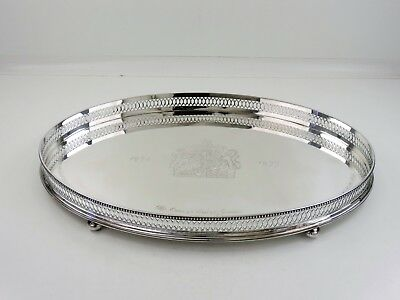 Super heavy SILVER GALLERY TRAY, Sheffield 1977 ROYAL Coat-of-Arms 2190g JUBILEE