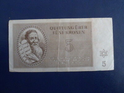 1943 Theresienstadt Ghetto Concentration Camp- 5 Kronen- Low SN#A029--18-753