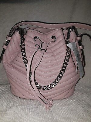 6858f79d38 Steve Madden Pink Chevron Quilted Faux Leather Marge Drawstring Purse