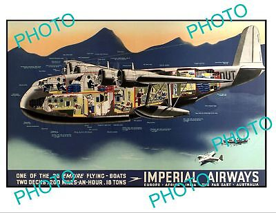 OLD LARGE HISTORIC AVIATION POSTER, IMPERIAL AIRWAYS FLYING BOATS c1950s