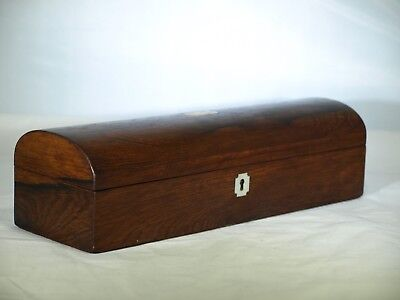 Antique English wood box with round top & MOP inlay key hole face and plaque on