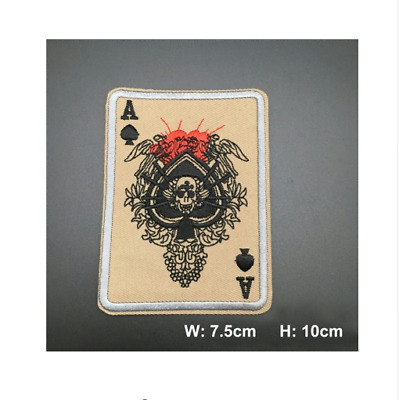 Ace Of Spades Death Skull Card Usa Army Tactical Morale Iron On Patch