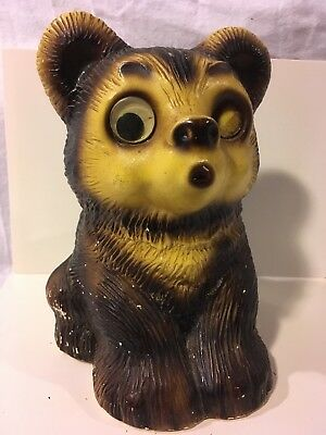 Vintage Piggy Bank, Ceramic Bear, 1920's - 30's Worn Condition, Home Decor