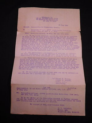 RARE WWII Commendation letter for Meritorious Services Normandy Invasion-8th AF