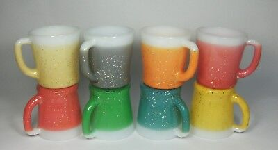 w Vintage Lot 8 FIRE KING GLAMALITE SPARKLE MUGS Colorful Glamite Glitter Cups