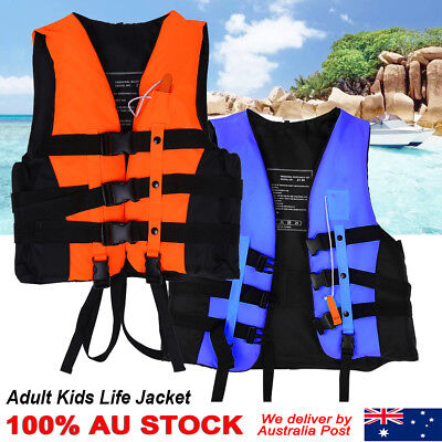 Emergency Kids Adult Life Jacket Swimming Boating Vest Whistle Strong Buoyancy