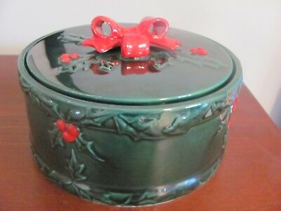 Lefton Vintage Christmas Green Holly Berry Flat Candy Dish