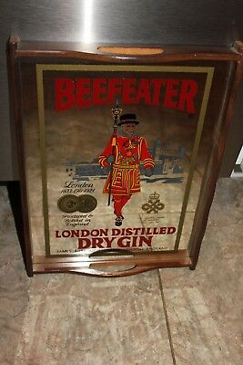 Vintage Beefeater London Distilled Dry Gin Mirrored Wooden Serving Tray