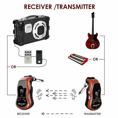 Digital UHF Guitar Wireless Transmitter Receiver System 10 Channels 5 Effects