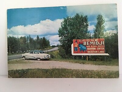 Postcard MN Bemidji Billboard Paul Bunyan Blue Ox Oldsmobile Old Car 1954 RPPC