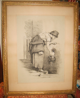 Large Vintage Art Black Sketch Drawing Painting ~Very Old ~ Gold Frame 28''/70cm