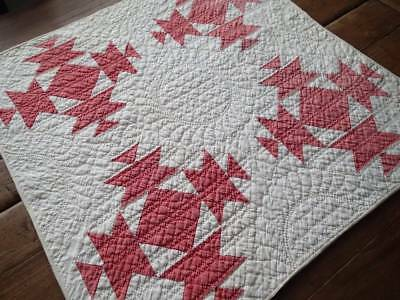 Fine Quilting! Antique Red & White Chicks And Hens Table Crib QUILT 25x25