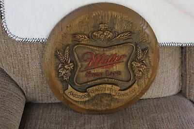 Vintage Miller High Life Beer Resin Faux Wood Advertising Sign Free Fast Shipng