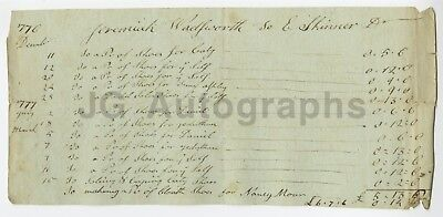 Revolutionary War Document An Order of Shoes for Soldiers 1776 / 1777 Hartford