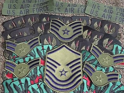 US Air Force Pilot Combat Command Star Ranked Chevron USAF Military OD Patch Lot