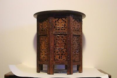Indian Hand Carved Wooden Folding Table Teak