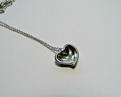 Authentic Tiffany & Co Elsa Peretti Concave Heart Solid Sterling Silver Necklace