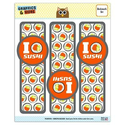 a4f2c0c4b I LOVE SUSHI Roll Heart Set of 3 Glossy Laminated Bookmarks - $4.99 ...