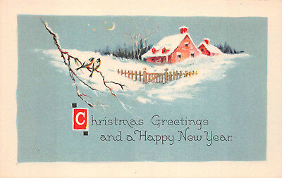 Postcard - Christmas Greetings and A Happy New Year - Vintage Unused A07