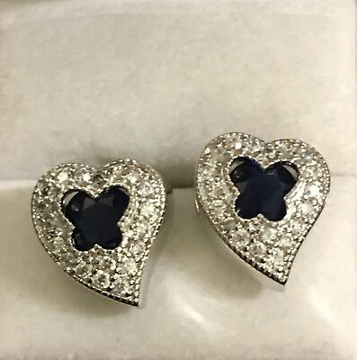 NO RESERVE 5ct Blue Sapphire & White Topaz Sterling Silver Heart Earrings 3/4""
