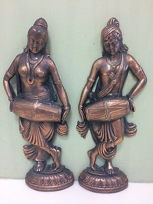 """Vintage Brass Or Copper Set Of Wall Hangings Or Decor. M&F Indian Drummers. 13""""."""
