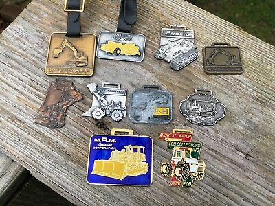 Lot of 10 Vintage Watch Fobs Caterpillar P&H Wabco