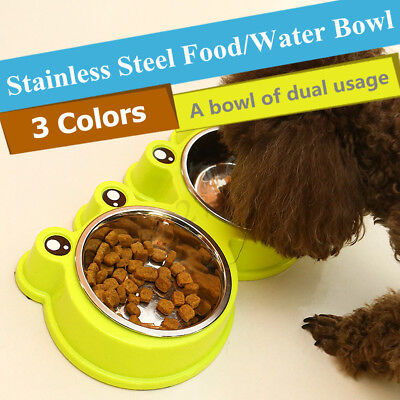Stainless Bowl Cat Twin Feeding Water Bowl Cat Bowl Double Pet Food Bowl Dish !
