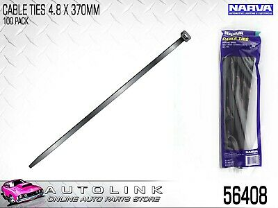 "NARVA BLACK CABLE TIES 4.8mm x 370mm (14 1/2"") LONG 100 PACK UV RESISTANT - 5640"