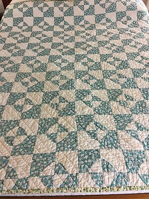 "Wow Vintage Handmade Feed Sack Hour Glass  Quilt  73"" X 67"" Well Quilted"