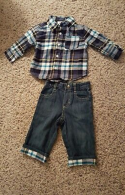 NWT Baby Boy Gymboree Flannel Plaid Shirt & Matching Blue Jeans 6-12 Months