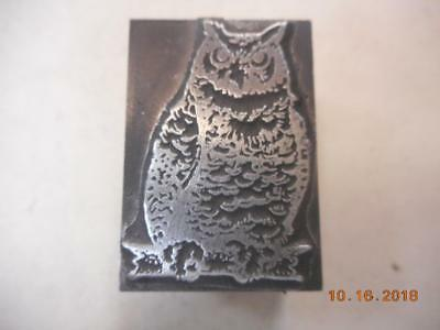 Printing Letterpress Printer Block, Decorative Owl On Branch, Printer Cut