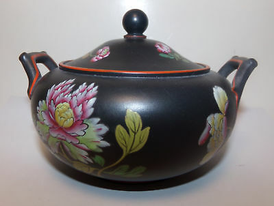 ANTIQUE WEDGWOOD BLACK BASALT 2 HANDLED COVERED SUGAR BOWL-CAPRI WARE-4.5in-NR