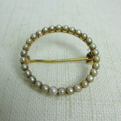 Antique Estate 14K Gold Circle SEED PEARL Pin or Brooch - Great Condition!