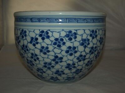 Antique Chinese Blue & White porcelain 'cracked ice & prunus' Planter fish bowl