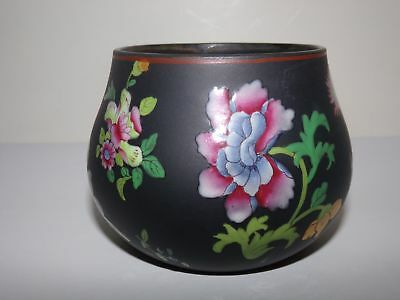 ANTIQUE WEDGWOOD BLAVK BASALT SUGAR BOWL-CAPRI WARE-3in-ENAMEL PAINTED FLOWERS