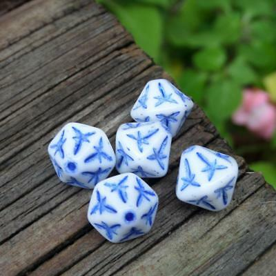 (5) Rare Unusual Incised White Glass Blue Painted Bicone Beads VTG Made Austria