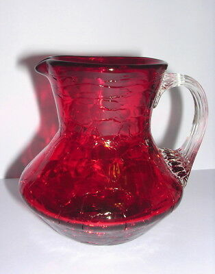 Vintage Sm Red Crackle Glass Pitcher Vase Clear Handle Hand Blown W