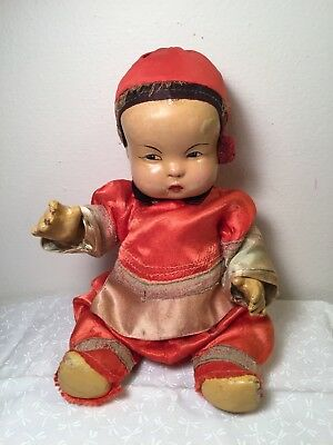 """Vintage Antique Chinese Composition Doll Boy Jointed 10"""""""