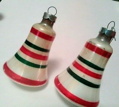 Vintage Set of 2 Mercury Glass Bell Christmas Ornaments White Red Green Stripes
