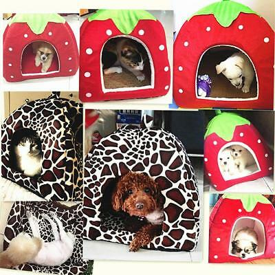 Soft Strawberry Dog Cat House Kennel Doggy Fashion Cushion Basket For Pets Puppy