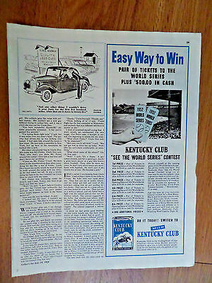 1952 Kentucky Club Pipe Tobaccos Ad See the World Series Baseball Contest