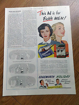 1951 Edgeworth  Pipe Tobacco Holiday Pipe Mixture Ad  This Ad for Fickle Men