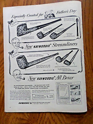 1952 Kaywoodie Pipes Ad Father's Day New Streamliners All Briar