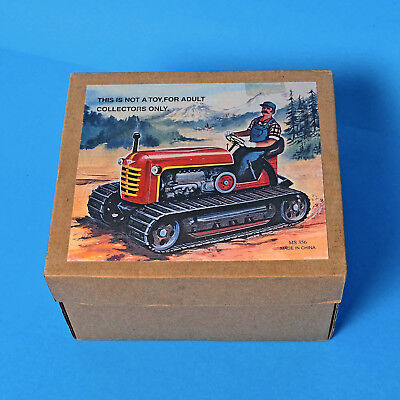 Collectable Retro Clockwork Wind-up Toy TRACTOR Driver Caterpillar Tracks Boxed