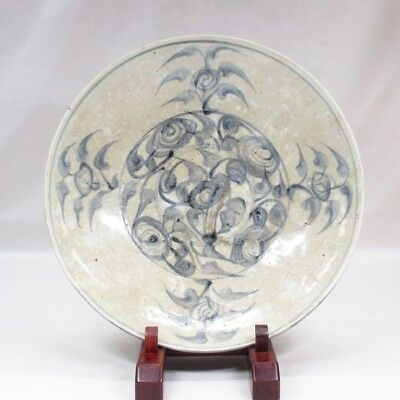 H210: Rare, Southeast Asian old pottery BIG plate from Vietnam called AN-NAN.