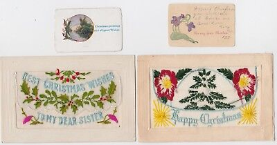 2 x SILK POSTCARDS sent back to Australia from France WW1 with inserts